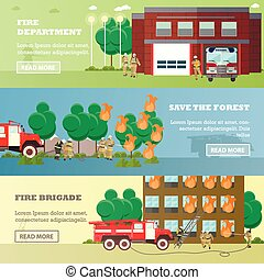 Vector set of banners with fire fighting concept design elements