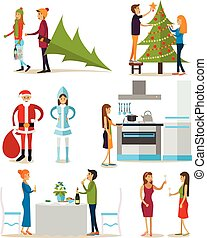 Vector set of New Years Eve celebration design elements, icons