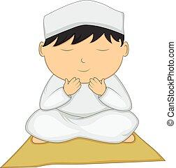 Little boy praying cartoon
