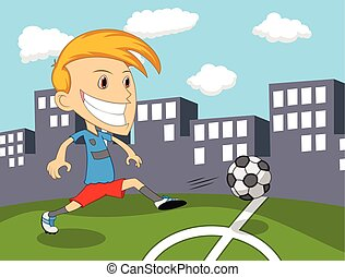 A boy playing soccer on the field cartoon