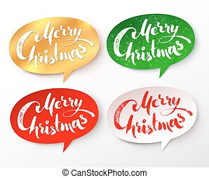 Paper banners with Merry Christmas lettering