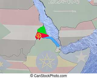 Eritrea with flag on globe - Map of Eritrea with national...