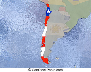 Chile with flag on globe - Map of Chile with national flag...
