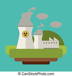 power plant nuclear electricity vector illustration eps 10