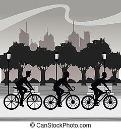 silhouette group younger riding bycicle park city background...