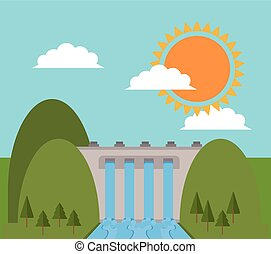 hydro electric power dam design vector illustration eps 10