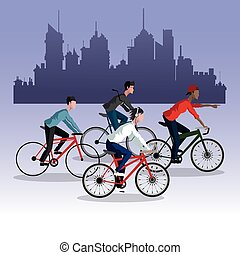 people young riding bycicle city background - people young...