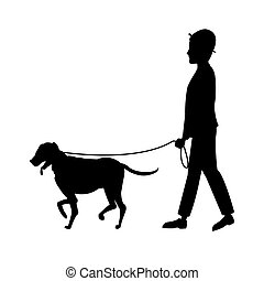 silhouette man and dog walking