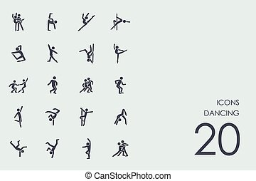 Set of dancing icons - dancing vector set of modern simple...
