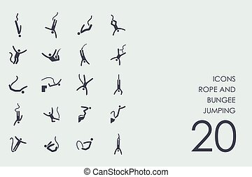 Set of rope and bungee jumping icons - rope and bungee...