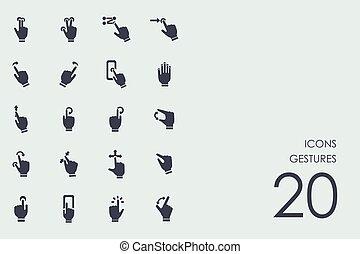 Set of gestures icons - gestures vector set of modern simple...