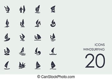 Set of windsurfing icons - windsurfing vector set of modern...