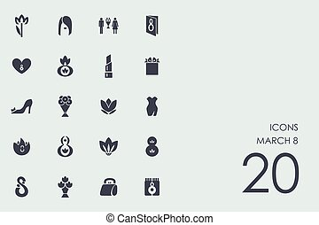 Set of March 8 icons - March 8 vector set of modern simple...