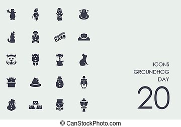 Set of groundhog day icons - groundhog day vector set of...