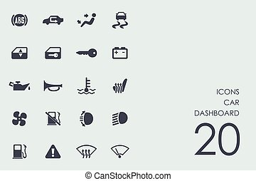 Set of car dashboard icons