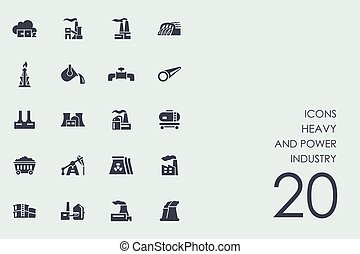 Set of heavy and power industry icons - heavy and power...