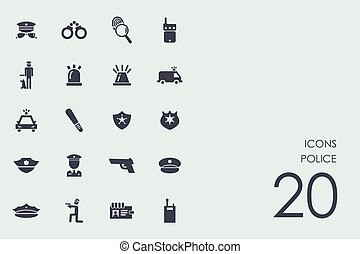 Set of police icons - police vector set of modern simple...