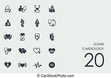 Set of cardiology icons