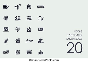 Set of 1 september knowledge icons