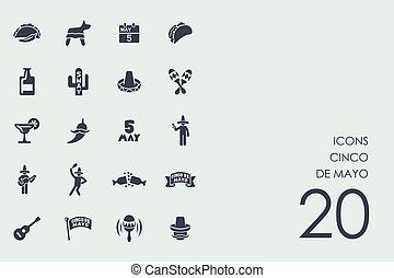 Set of Cinco de Mayo icons - Cinco de Mayo vector set of...