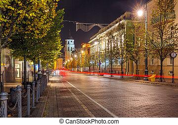 Gediminas prospect at night, Vilnius, Lithuania - Gediminas...
