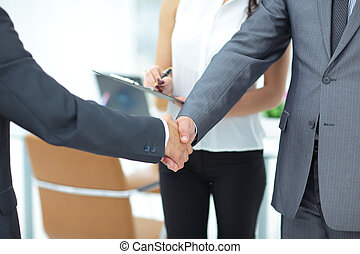 Successful handshake of business men in a working...
