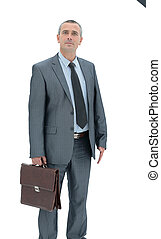 qualified lawyer in a business suit with briefcase on a white ba