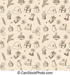 Christmas seamless pattern with winter holiday elements -...