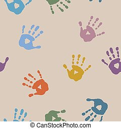 Seamless abstract pattern with prints of children's hands