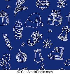New Year seamless pattern with winter holiday elements - New...