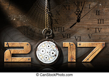 2017 New Year - Old Broken Pocket Watch - 2017 New Year -...