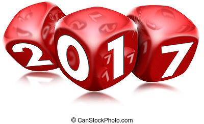 Dice 2017 Happy New Year - Three red dice with the written...