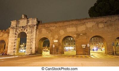 Porta San Giovanni. Panorama. Rome, Italy. UltraHD (4K)