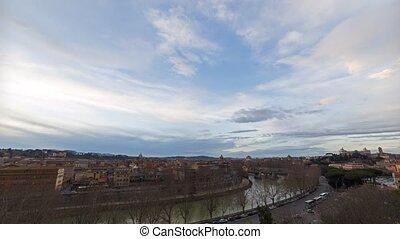 View of the Tiber River, Bridge Palatino. SunSet. Rome,...
