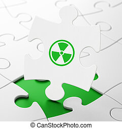 Science concept: Radiation on puzzle background - Science...
