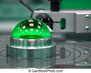 calibrating ball - Green calibrating ball omn a measuring...