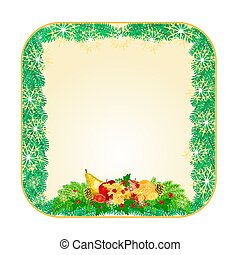 Button square Christmas fruit and pine cones vector.eps -...