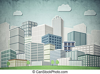Drawn colorful cityscape - Illustration of cityscape with...