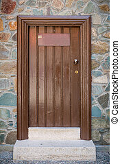 Old wooden brown door close up. - This is an old wooden...