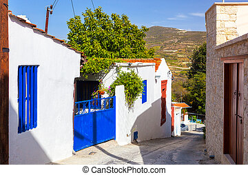 Street in the Cypriot village. Omodos, Cyprus. - Ordinary...