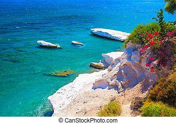 Beautiful coast view. Kalymnos Beach, Cyprus. - Beautiful...