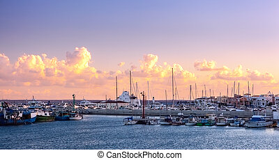 Limassol Old Port at sunset. Cyprus. - View of the Limassol...
