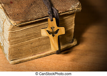 Small Wooden Crucifix with Dove and Bible - Small wooden...