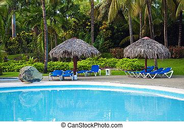 Pool at holiday resort.