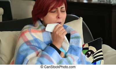 Middle age woman sick with flu sitting at home - Ill red...