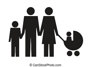 abstract family pictogram with couple, child and stroller