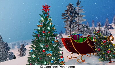 Santa's sleigh and decorated Christmas tree 4K - Close up of...