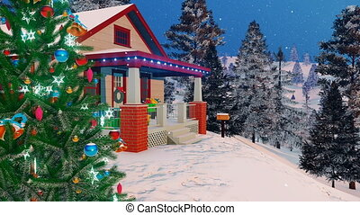 Close up of cozy house decorated for Christmas 4K - Close up...