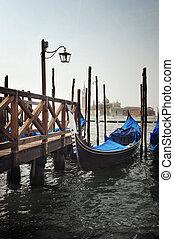 Gondolas and the San Giorgio Maggiore church in Venice