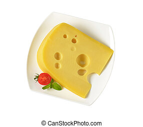 wedge of yellow cheese with eyes - wedge of medium-hard...